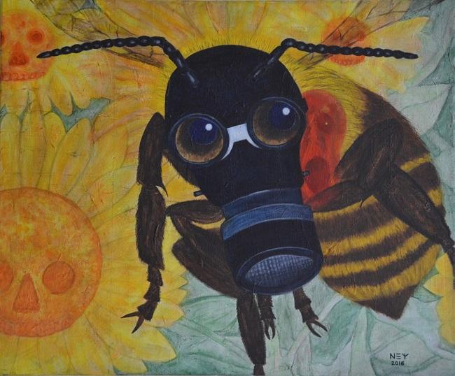 Biene mit Gasmaske
